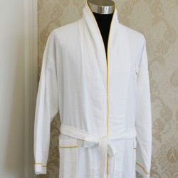 Cotton Waffle Bathrobe with Golden Trim 20pcs pack
