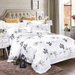 Cotton Bedding Sets with Printed Flower Design