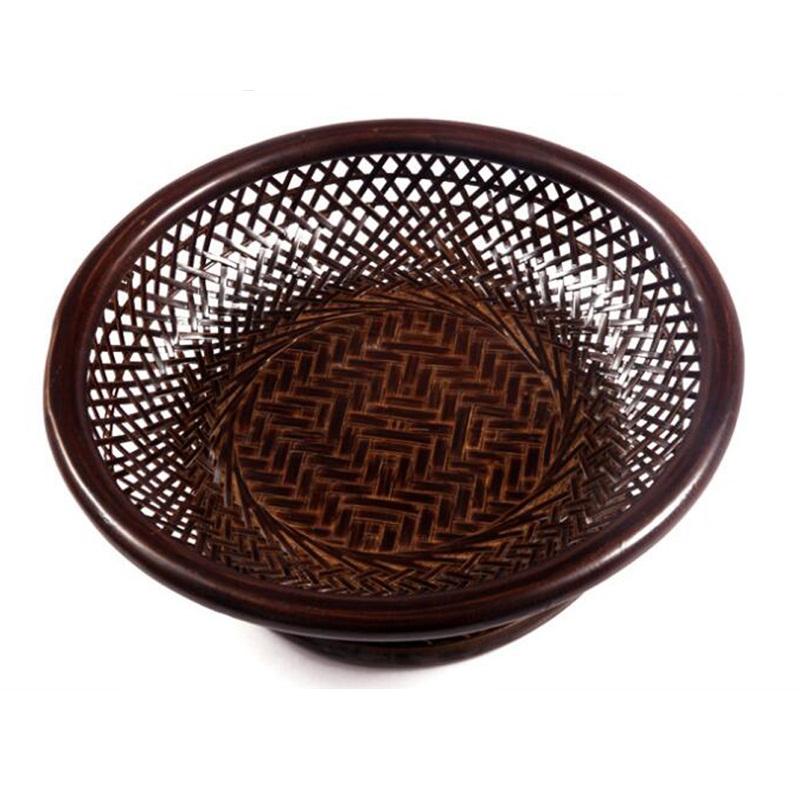 Cylindrical Weaved Bamboo Fruit Basket