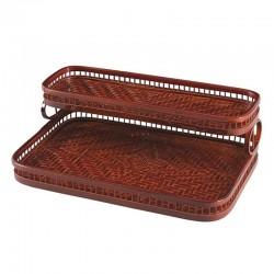 Bamboo Double Layers Rectangle Hotel Bathroom Amenities Tray