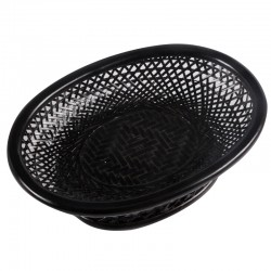 Natural Wavy Weaved Bamboo Fruits Baskets in Black