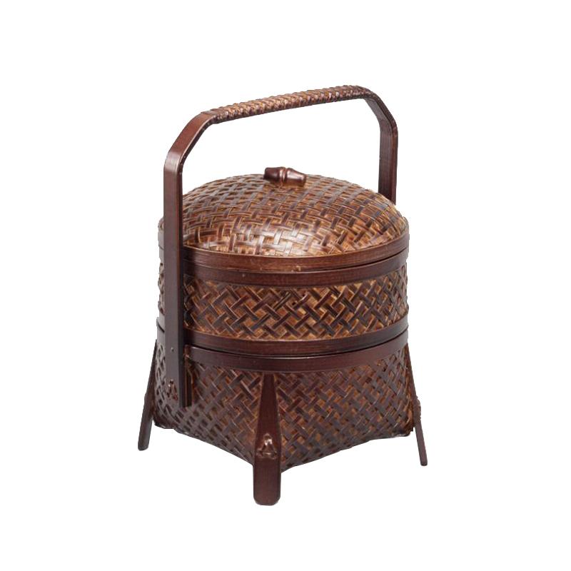 Double Layer Bamboo Fruit Basket in Dark Brown