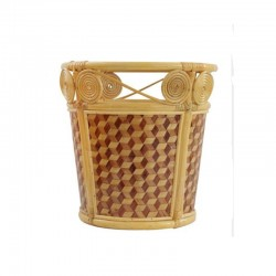 Two tone Weaved Bamboo Weaved Towel Basket