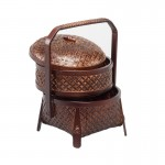 Double Layer Bamboo Fruit Basket in Dark Brown