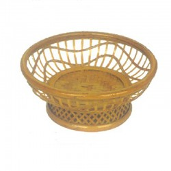 Double Layer Bamboo Fruit Basket in Light Yellow