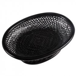Oval Weaved Bamboo Fruit Basket in Black