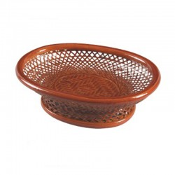 Oval Weaved Bamboo Fruit Basket in Light Brown