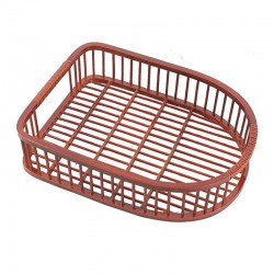 Natural Bamboo Shoes Tray in Red Brown