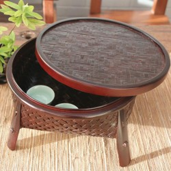Natural Bamboo Tea Tray in Red Brown
