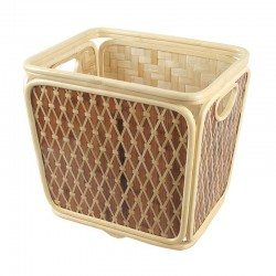 Two tone Weaved Bamboo Towel Basket in Beige