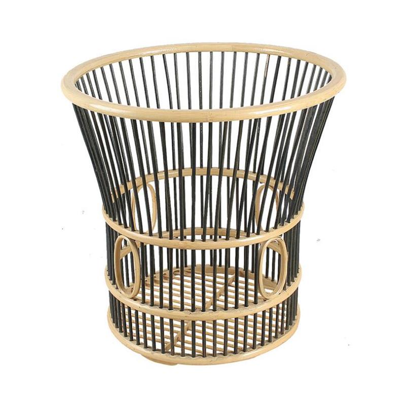 Double Color Porose Horn Shape Bamboo Towel Basket