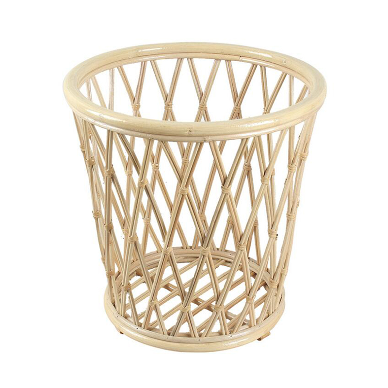 Natural Bamboo Laundry Basket in Beige