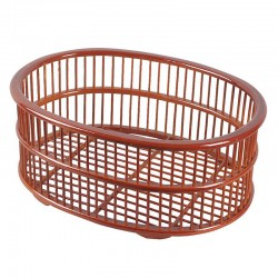 Natural Bamboo Oval Weaved Towel Basket in Light Brown