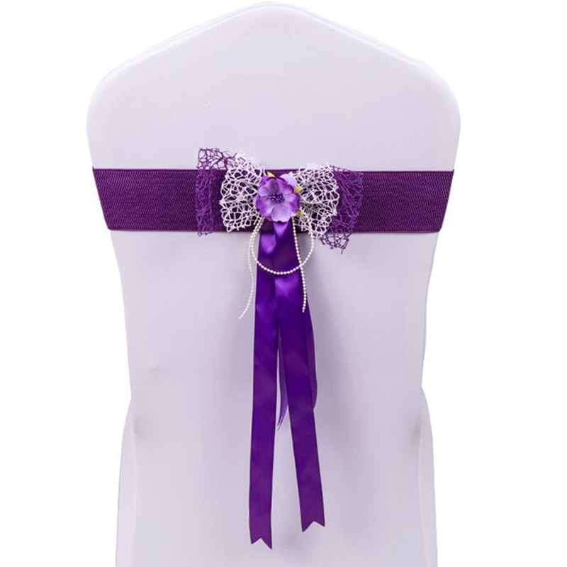 Spandex Flower Decoration Chair Cover Buckle
