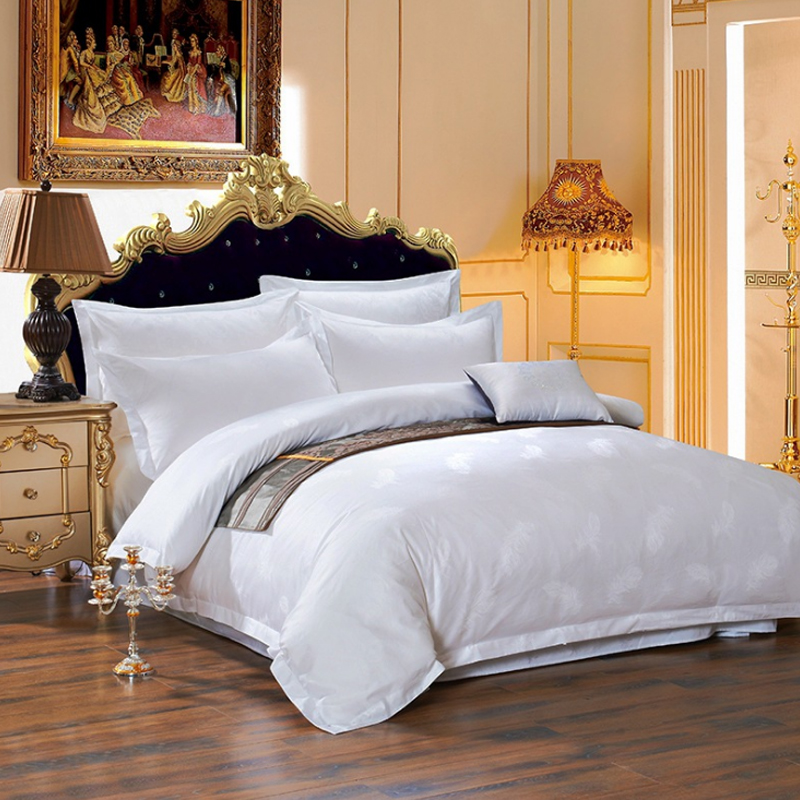 JOSHUA 300T Cotton White Bed Sets with Jacquard Pattern