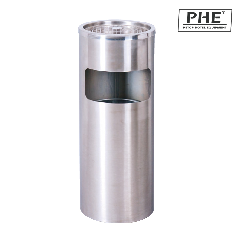 Round Satin finish stainless steel Ash bin 1pc pack