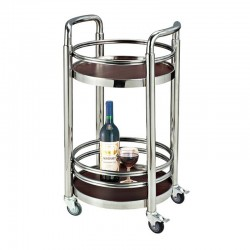 Quality Round Stainless Steel Beverage Service Cart 1pc pack