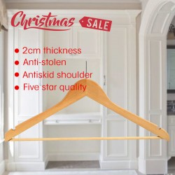 Anti Stolen Ecru Color Wooden Hanger 100pcs pack