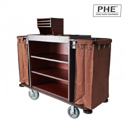 Deluxe Iron Frame Mixed Wooden Board Housekeeping Trolley with Double Canvas Bag 1pcs pack