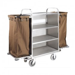 4 Layers Brushed Stainless Steel Housekeeping Cart with Two Pockets 1pc pack