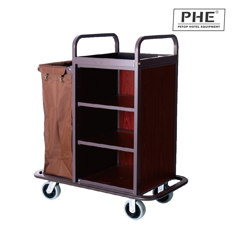 Iron Frame Mixed Wooden Bard Housekeeping Cart with Single Canvas Pocket