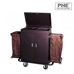 Iron Spraying in Matt Finish Housekeeping Trolley with Double Canvas Pockets 1pc pack
