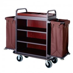 Three Layers Double Pockets Housekeeping Trolley