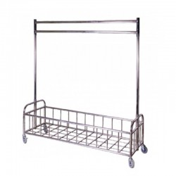 Stainless Steel Rolling Laundry Cart with Hanging Bar