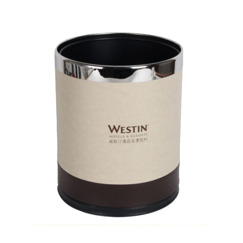 PU Leather Double Layer Waste Paper Bins 6pcs pack