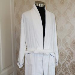 Cotton Terry Cloth Bathrobe with Blue Trim 20pcs pack