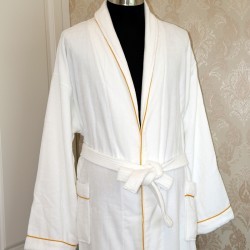 Cotton Satin Velour Bathrobes with Golden Trim 20pcs pack