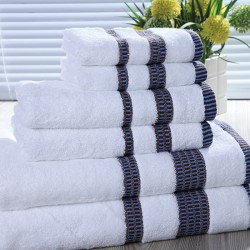 JOSHUA 16S Quality Cotton Towels with Yarn-dyned Sateen Piano Key Pattern