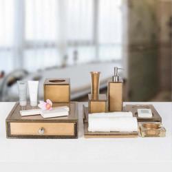 Star Hotel Luxury Golden Resin Bathroom Amenities Set Series