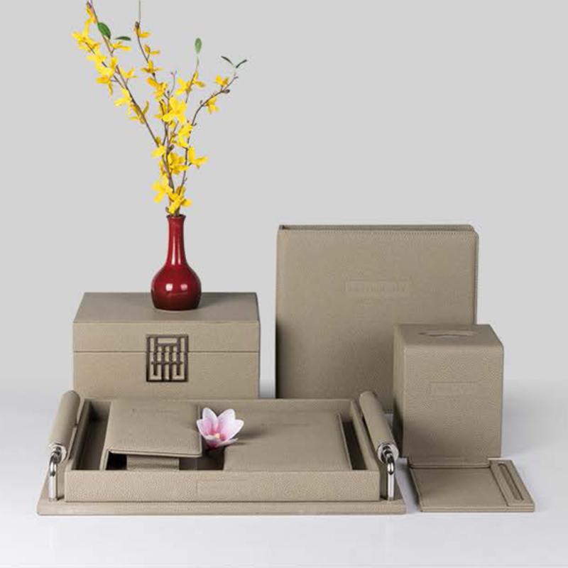 Chinese Design Elegant Beige Hotel PU Leather Set
