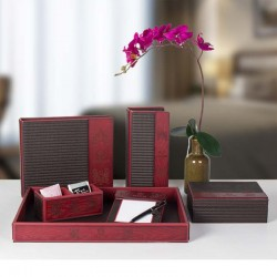 Chinese Red PU Leather Set