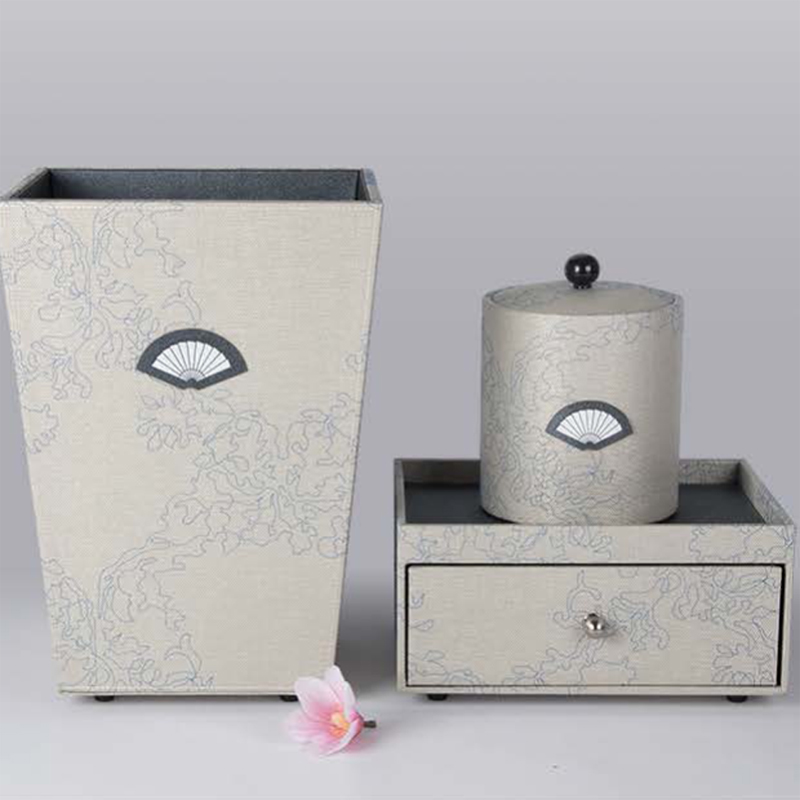 Chinese Design Elegant Beige PU Leather Set with Pattern