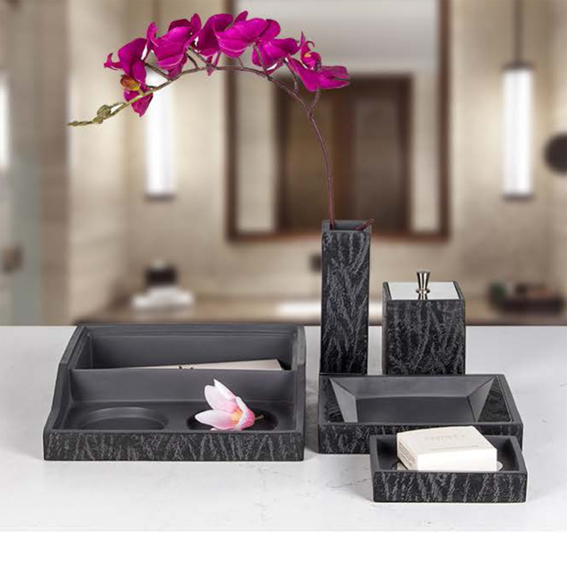 Star Hotel Resin Guestroom Amenities Set Series with Gray Pattern
