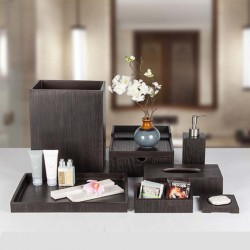 Star Hotel Elegant Natural Wood Grain Resin Guestroom Amenities Set Series