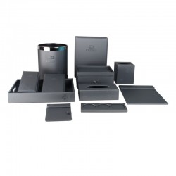 Classic Elegant Gray PU Leather Set with Pattern 10pcs set