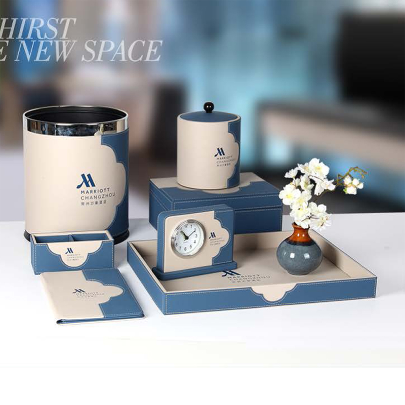 Star Hotel Business Blue Beige Splicing PU Leather Set