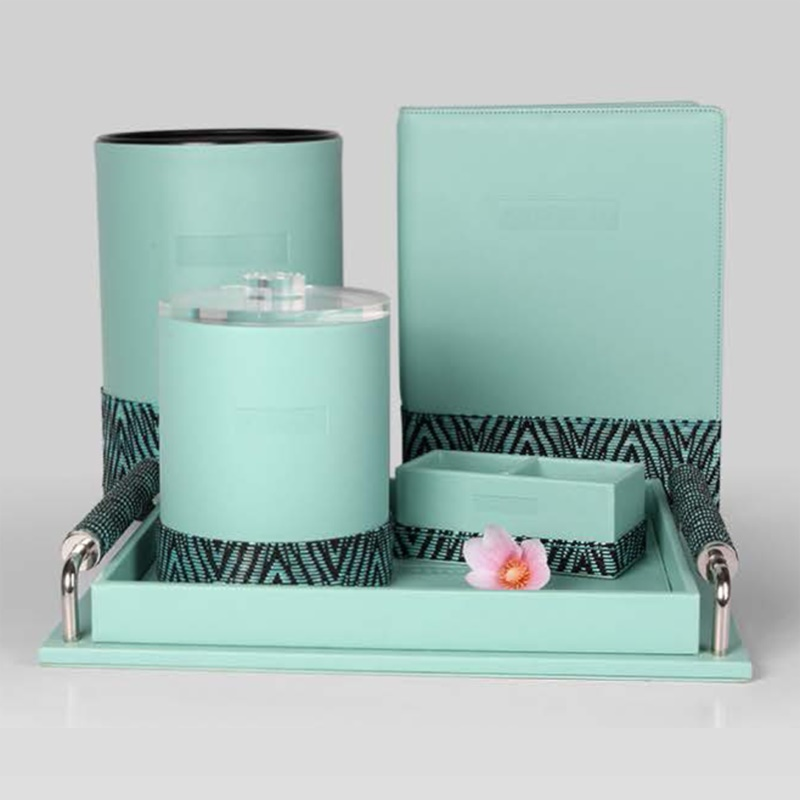Hotel Light Green Splicing Geometry Grain PU Leather Set
