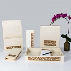 Elegant Pearl White PU Leather Set with Hollow Out Pattern