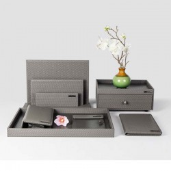 Elegant Gray Small Check Hotel PU Leather Set