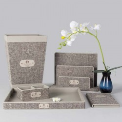 Elegant Light Linen Gray PU Leather Set