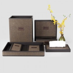 Elegant Brown Star Hotel PU Leather Set