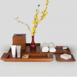 Star Hotel Natural Wood Guestroom Bath room Amenities Set Series in Brown