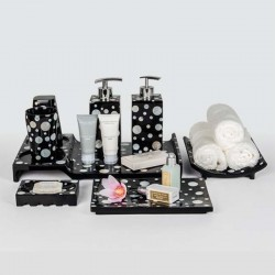 Star Hotel Resin Guestroom Amenities Set in Black wit White Dots Pattern