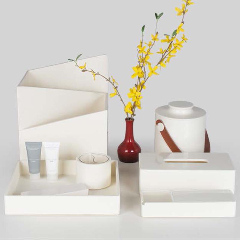 Star Hotel Elegant White Resin Guestroom Amenities Set Series