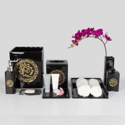 Star Hotel Classic Black Resin Guestroom Amenities Set with Golden Pattern