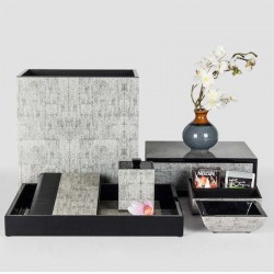 Star Hotel Natural Wood Guestroom Amenities Set Series in Marble Gray
